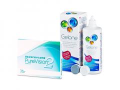 PureVision 2 (3 φακοί) + Υγρό Gelone 360 ml