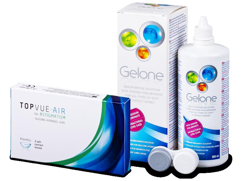 TopVue Air for Astigmatism (3φακοί) +υγρό Gelone 360 ml